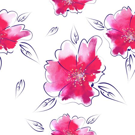Background with picturesque pink flowers. Seamless floral pattern. mixed media. Vector illustration