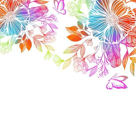 Fleur abstraite arc-en-ciel avec des papillons. Technique mixte. Illustration vectorielle