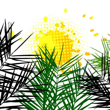 Background with palm leaves. Vector