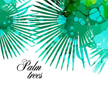 Background with palm leaves. mixed media. Vector illustration