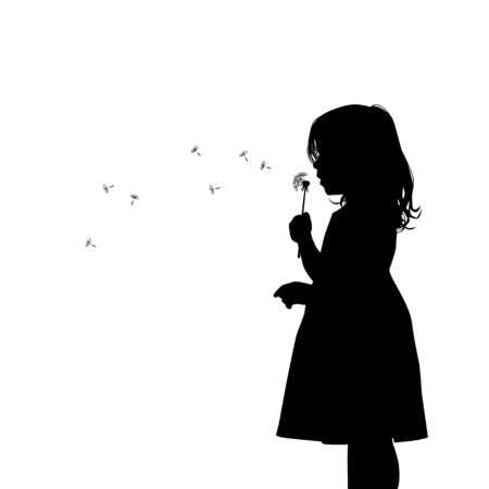 The profile of the silhouette of the girl blows dandelion. Vector illustration Ilustracja
