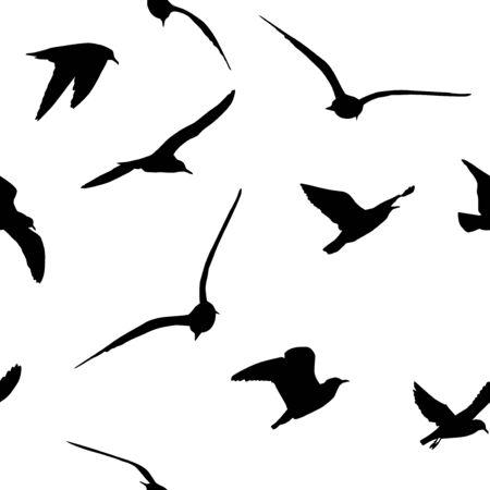Un telón de fondo sin fisuras de gaviotas volando. Ilustración vectorial