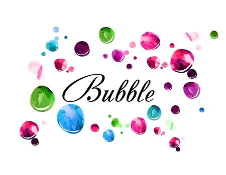 Colorful watercolor soap bubbles. Vector illustration