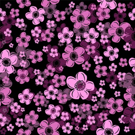 The seamless background is beautiful graphic pink flowers. Vector illustration Illustration