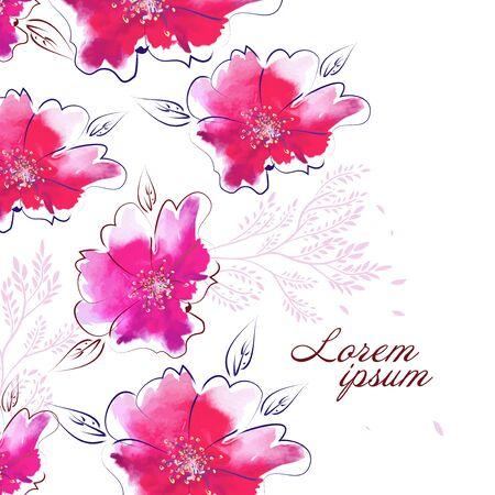 Watercolor pink flower. Vector illustration