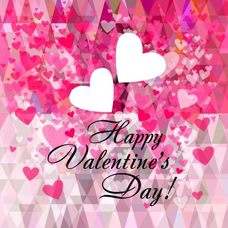 Happy Valentines Day. A background with hearts. Vector illustration. Square postcard