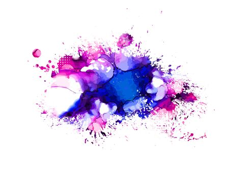 Multi-colored spots of paint on a white background. Grunge frame of paint. Vector
