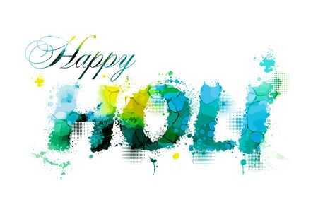 Happy Holi. From drops of paint. Vector illustration Banque d'images - 138354835