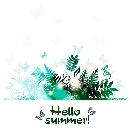 Abstrakcja lato. Zielone tło z trawą i ziołami. Ilustracja wektorowa