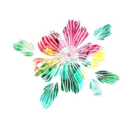 Flor abstracta del arco iris. Ilustración vectorial