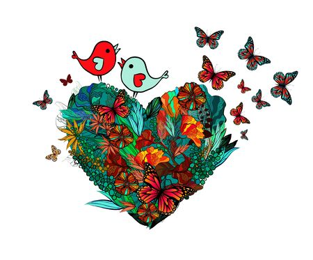 The heart with flowers and twigs is abstract. Happy Valentines Day. Vector illustration