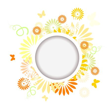 Abstraction summer. Flowers with butterflies. Round frame. Hello summer! Vector illustration