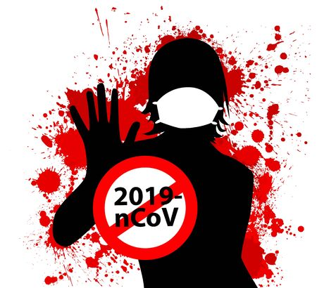 Stop coronavirus. 2019-nCoV danger and public health risk disease and flu. Mask girl silhouette. Pandemic medical concept with dangerous cells. Vector illustration