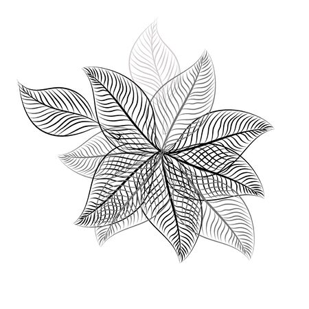Abstraction from skeleton monochrome leaves. Vector illustration
