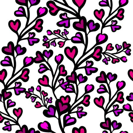A seamless background of sprigs with hearts. Vector illustration 일러스트