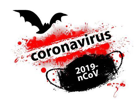 Sign caution coronavirus. Stop coronavirus. Coronavirus outbreak. Coronavirus danger and public health risk disease and flu. Pandemic medical concept with dangerous cells.Vector illustration