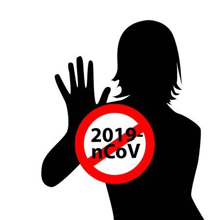 Sign caution coronavirus. Stop coronavirus. Coronavirus danger and public health risk disease and flu. Pandemic medical concept with dangerous cells.Vector illustration