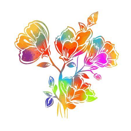 Fleur abstraite arc-en-ciel. Illustration vectorielle Vecteurs
