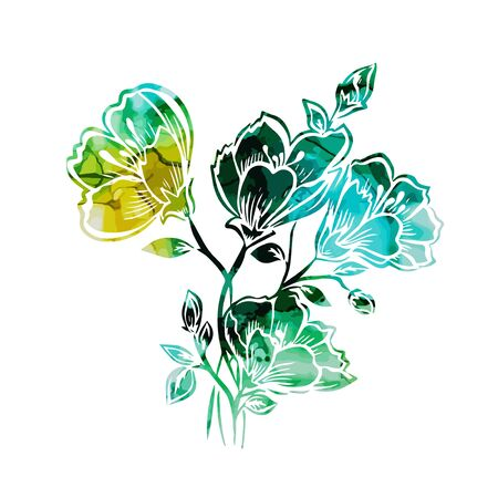 Multicolored picturesque abstract flower. Vector illustration