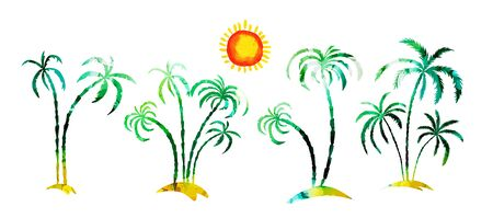 Multi-colored palm tree. Hello summer. Vector