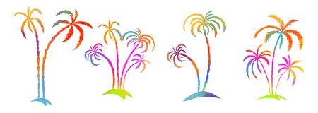Multi-colored palm tree. Hello summer. Vector Banque d'images - 140908210