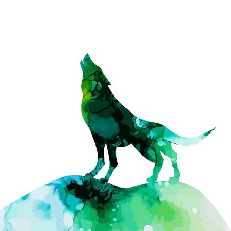 Wolf silhouette watercolor. Vector illustration