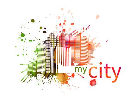 Abstract city icon. Vector illustration