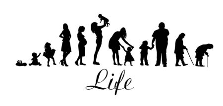 Silhouettes of people. The cycle of life. Silhouettes of women from birth to old age. Vector illustration Standard-Bild - 141631935