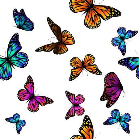 A lot of flying butterflies. Abstract butterflies seamless pattern. Vector illustration
