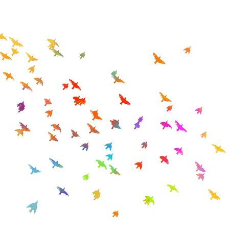 Multi-colored birds. A flock of flying rainbow birds. Mixed media . Vector illustration