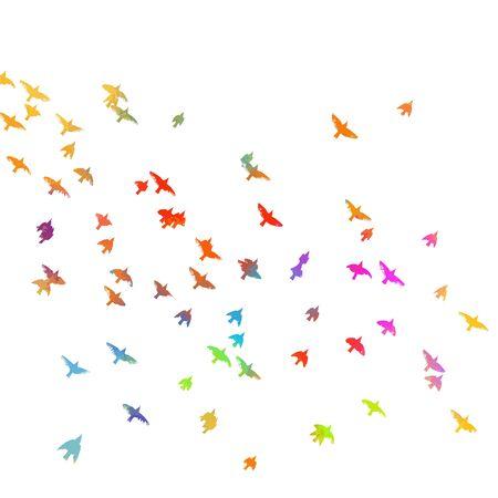 Multi-colored birds. A flock of flying rainbow birds. Mixed media . Vector illustration