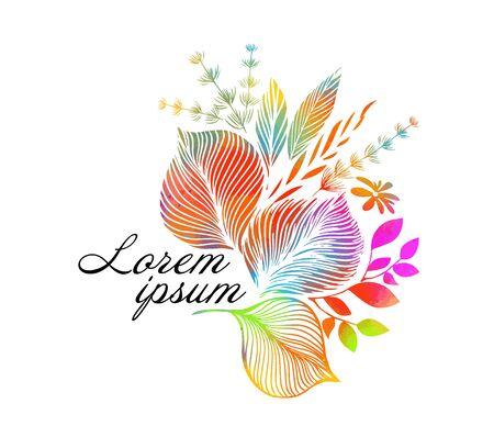 Rainbow abstract flower. mixed media. Vector illustration
