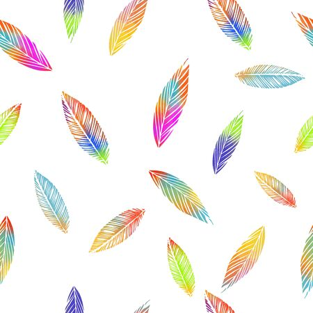 A seamless background with falling multicolored leaves. Vector illustration