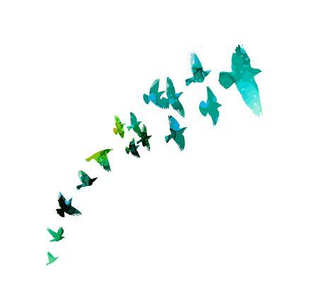 Multi-colored birds. A flock of flying rainbow birds. A lot of soaring birds. Vector illustration