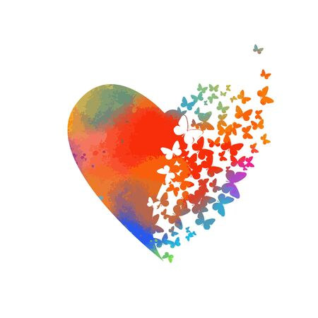 Abstract multicolored heart of butterflies. Happy Valentines Day. Vector illustration Stock Illustratie