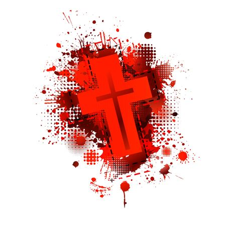 Cross from blood stains. Happy Easter. Vector illustration Vettoriali
