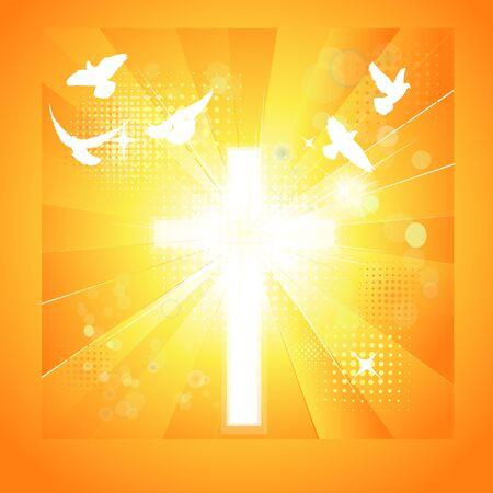 Shining cross with flying birds Vector illustration