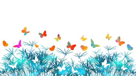 silhouette of grass on white background. Multi-colored butterflies. Vector illustration