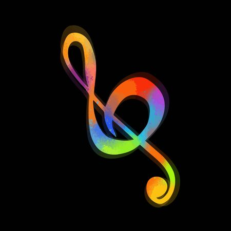 Vector illustration multi-colored treble clef isolated. Music key. Musical symbol.