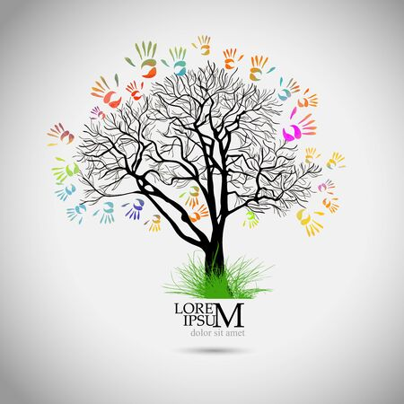 Vector Illustration of an Abstract Tree with Colorful Hand Prints Ilustrace