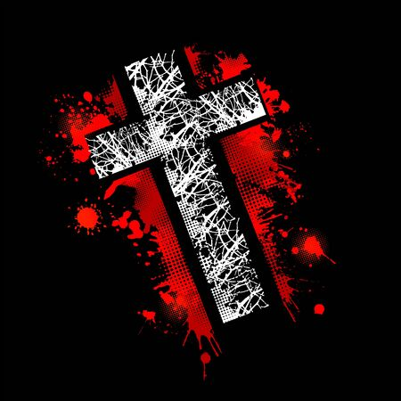 Cross from blood stains. Happy Easter. Vector illustration