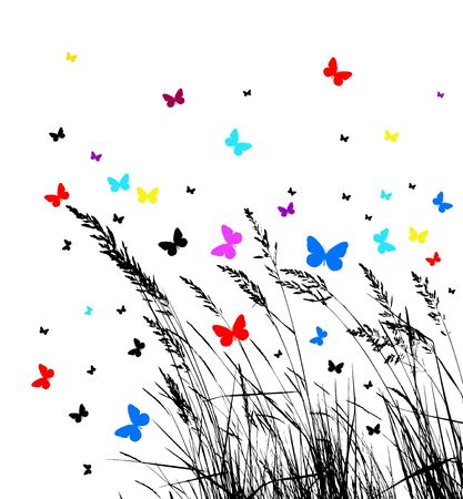 Grass with butterflies. Vector illustration