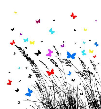 Grass with butterflies. Vector illustration Illustration