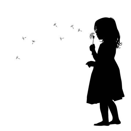 The profile of the silhouette of the girl blows dandelion. Vector illustration Ilustración de vector