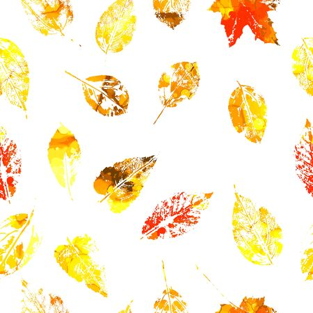 A seamless background of leaf prints. Vector illustration