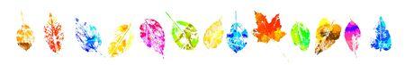 A set of multicolored leaf prints. Vector illustration