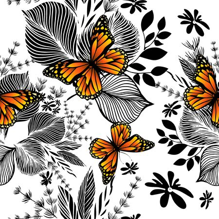 A seamless background with monochrome flowers and butterflies. Vector illustration