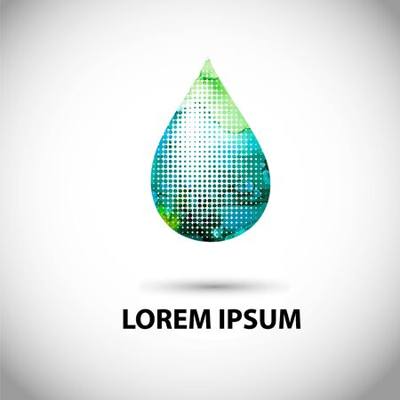 A multicolored drop logo. Mixed media. Vector illustration