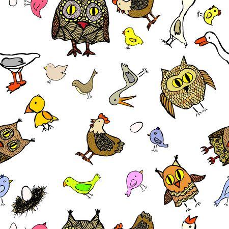 The seamless background is fun birds. Children's background, vector illustration Illustration