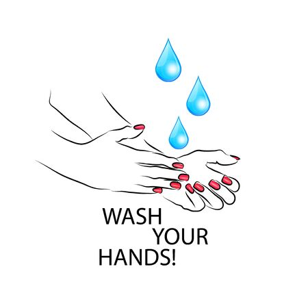 Wash your hands. Hands with water. Vector illustration Illustration